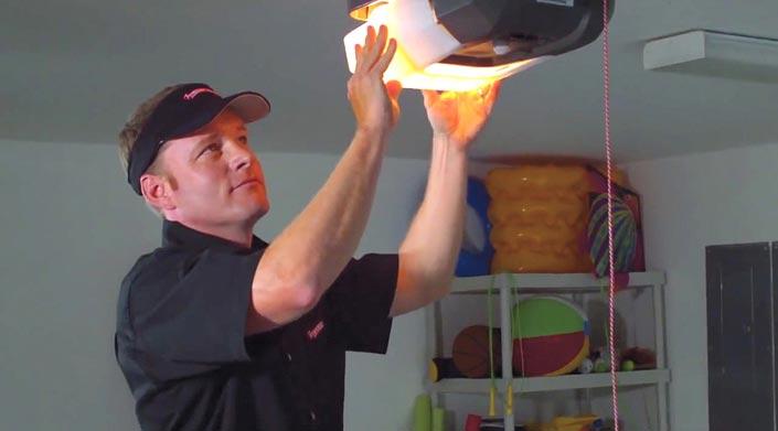 Service Guy and Garage DoorOpener